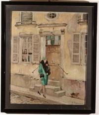 signora davanti a portone by fabien fabiano