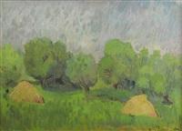 landscape with heystacks by constantin piliuta