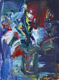 still life with flowers in a glass vase by gerhard batha