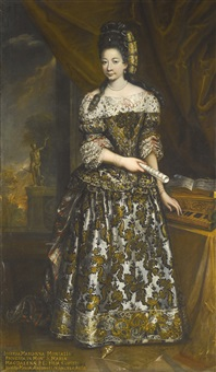 portrait of giuseppa marianna arconati, full length, with a virginal by italian school-northern (17)