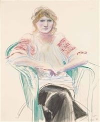 celia in green chair by david hockney