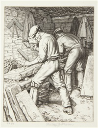 purbeck quarrymen; the cooper, chiltern wood turners and wind swept corn (4 works) by stanley anderson