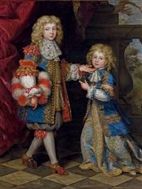 portrait en pied de deux enfants by henri gascars