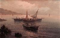 marina con pescatori by raffaele d' auria