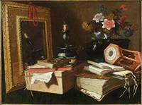 vanité au miroir et au sablier by master of the vanitas texts