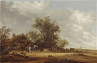 an extensive landscape with travellers halting at a farmhouse, a village beyond by salomon van ruysdael