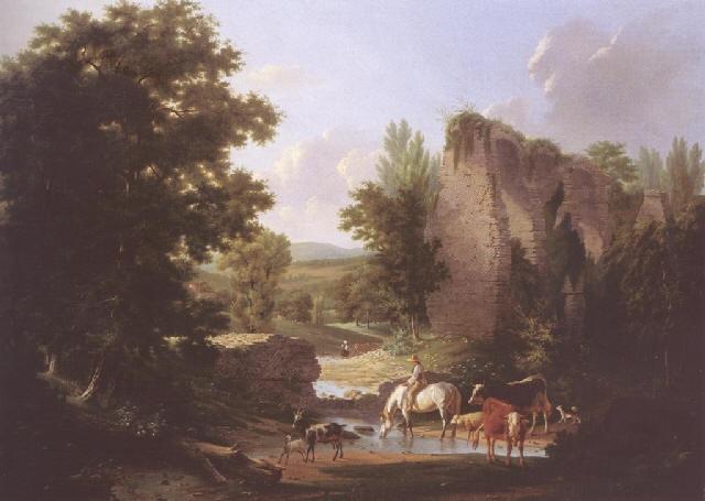 berger et son troupeau sabreuvant près des ruines by claude antoine jacob