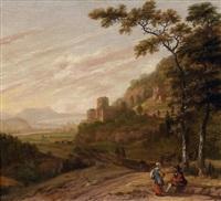 paysans discutant dans un paysage avec un château by jan gabrielsz sonje