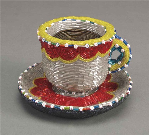 cup and saucer (2 parts) by liza lou