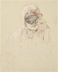 tête de mademoiselle louise riesener ou portrait de madame léouzon le duc by berthe morisot