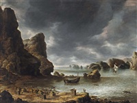 a view of a bay with rocks, possibly smeerenburg by jan abrahamsz beerstraten