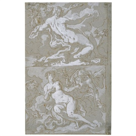 allegories of time and beauty (study)(+ allegorical subject with lion; double-sided) by johann karl loth