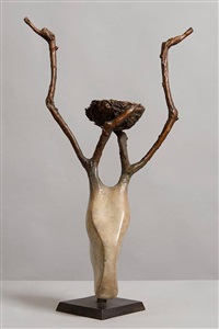 stags head with nest in antlers by anna linnane