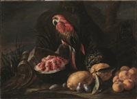 pappagallo con anguria, limoni, pesche, melone e susine in un paesaggio by italian school-roman (17)