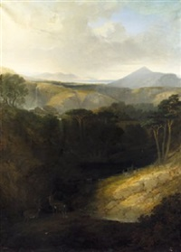 the waterfall at powerscourt & sugar loaf with extensive view towards dalkey island by george frederick (sir) hodson