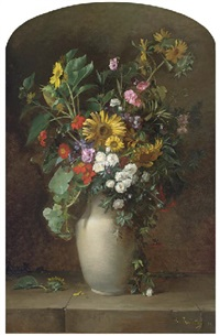 sunflowers, roses, and other summer blooms in a vase on a stone ledge by alfred renaudin