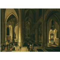 church interior of the antwerp cathedral at night, with figures in a procession to the left by peeter neeffs the elder