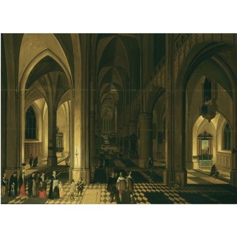 church interior of the antwerp cathedral at night with figures in a procession to the left by peeter neeffs the elder
