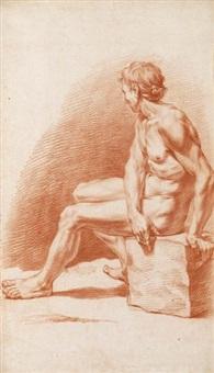 seated male nude; standing male nude holding a stick (2 works) by pietro da cortona