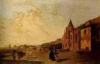 figures and cattle on a street before a harbour town by thomas jose annunciacao