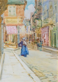 rue de l'horloge, dinan, france by frances mary hodgkins