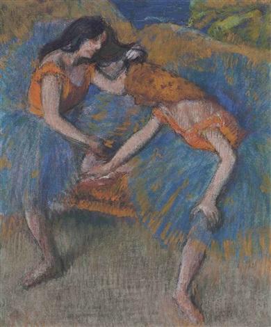 deux danseuses aux corsages jaunes by edgar degas
