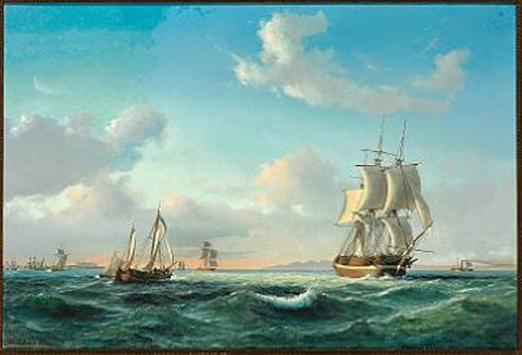 the sailing ship johanna and other vessels in sundet off kronborg castle by daniel hermann anton melbye