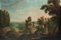 a river landscape with elegant company by classical ruins by robert griffier