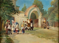 straniki outside the monastery walls by sergei ivanovich vasil'kovsky