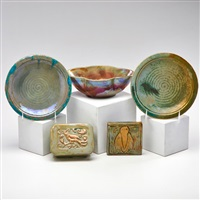 various objects (5 works) by pewabic pottery