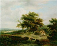 an extensive summer landscape by anthony jacobus offermans