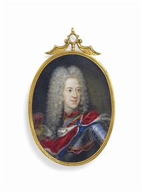 prince james francis edward stuart (1688-1766), known as the old pretender, in gilt-studded and bordered armour, wearing an ermine-lined red velvet... by continental school (18)