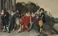elegant figures by a set table on a terrace, a park landscape with a pond beyond by dirck hals