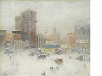 manhattan in winter by guy carleton wiggins