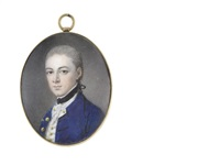 a midshipman, wearing blue coat, white waistcoat, frilled lace chemise and black stock, his hair powdered and tied with black ribbon by samuel andrews