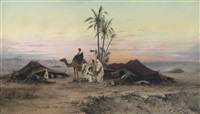 a bedouin camp at dusk by hermann david salomon corrodi