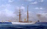britische dampfsegelyacht puritan by d. simons