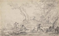 a deer hunt by nicolaes berchem