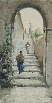 roman street scene by ettore roesler franz