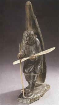 eskimo with canoe paddle by george aggiaq