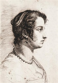 head of a woman in profile by giovanni luigi (valesi) valesio