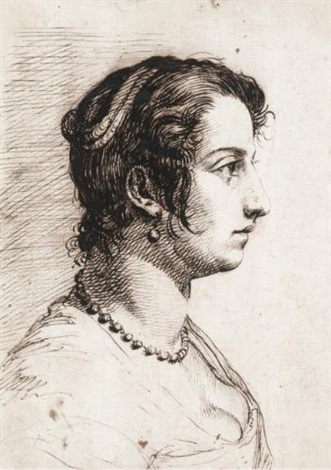head of a woman in profile by giovanni luigi valesi valesio