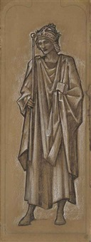 king alfred; a cartoon for the south transept window of st. paul's church, morton, gainsborough by edward burne-jones