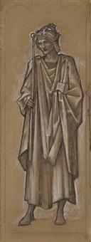 king alfred; a cartoon for the south transept window of st. paul's church, morton, gainsborough by edward burne-jones