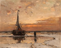 anchored barge at dusk by gerhard arij ludwig morgenstjerne munthe