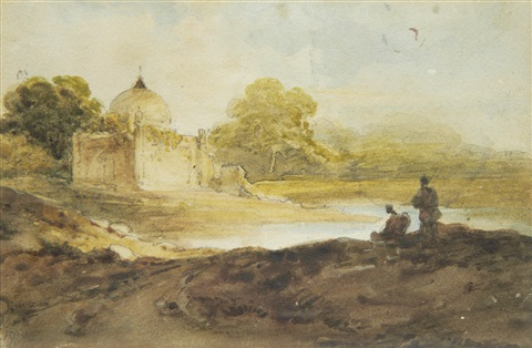 figures before an indian temple 2 others 3 works by george chinnery