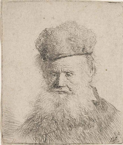 bust of an old man with a fur cap by rembrandt van rijn