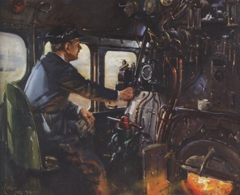 at the throttle of the flying scotsman by terence cuneo