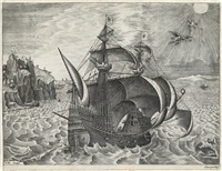 man of war sailing to the right, with daedalus and icarus by pieter brueghel the elder