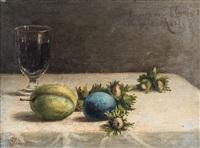 un bicchiere di vino, noccioline e prugne su un piano by gioacchino toma